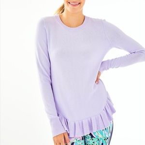 Lilly Pulitzer Estela Ruffle Knit Sweater lavender